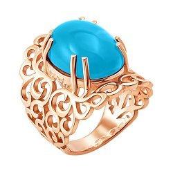 Кольцо из красного золота с темно-голубым топазом 000138841