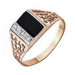 Перстень-печатка из красного золота с агатом и фианитами 000001098