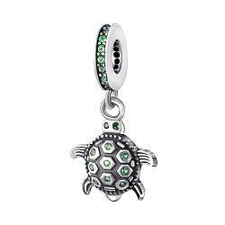 Срібний підвіс-шарм Черепашка з зеленими фіанітами 000043255