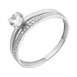 Золотое кольцо в белом цвете с фианитами 000008395