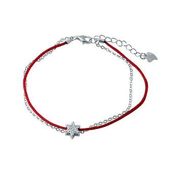 ДубльДвухслойный браслет из серебра и красной нити с фианитами 000105248