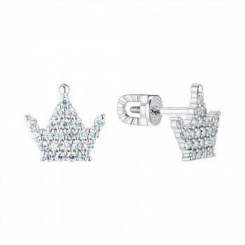 Серьги-пуссеты из серебра Корона с фианитами 000148619