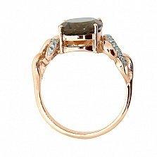 Золотое кольцо с раухтопазом и бриллиантами Мара