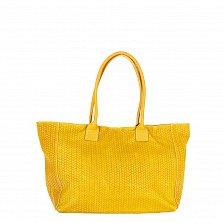 Кожаная сумка на каждый день Genuine Leather 8006 желтого цвета на молнии и магнитной кнопке