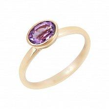Золотое кольцо Ирен в красном цвете с завальцованным аметистом