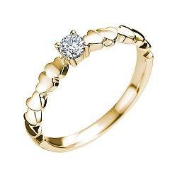 Помолвочное кольцо в желтом золоте с шинкой в сердцах и бриллиантом 000070618