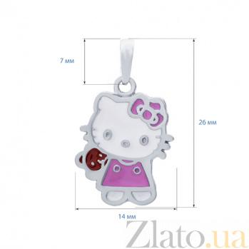Серебряный кулон с цветной эмалью Милая Kitty AQA--3670э