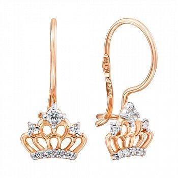 Серьги в виде короны в комбинированном цвете золота с фианитами и родированием 000135353