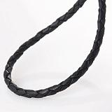 Кожаный черный шнурок Альтверн с гладкой золотой застежкой, 3мм