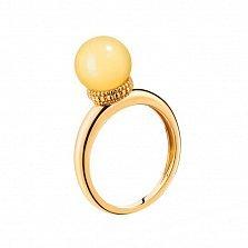 Позолоченное серебряное кольцо Медовый вечер с бусиной лимонного янтаря