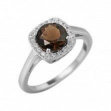 Серебряное кольцо Альбина с раухтопазом и фианитами