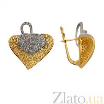 Золотые серьги с белым и желтым цирконием Осенний лист VLT--ТТ298-1