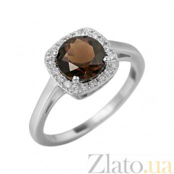 Серебряное кольцо Альбина с раухтопазом и фианитами 000081589