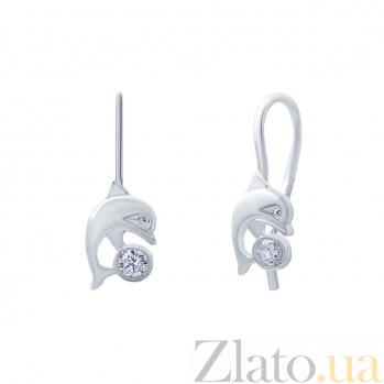 Серебряные серьги Дельфин  AQA--С-201