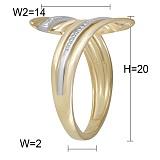 Кольцо Абстракция из комбинированного золота с бриллиантами