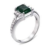 Серебряное кольцо Дария с зеленым кварцем и фианитами
