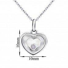 Серебряное колье Сердце малое с плавающим синтезированным розовым опалом, 10x10мм