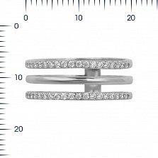 Тройное кольцо из белого золота Франсуаза с кристаллами циркония