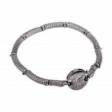 Серебряный черненый браслет Зоркий орел с фианитами
