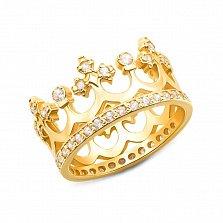 Кольцо-корона из желтого золота Сказочное королевство с фианитами