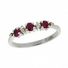 Серебряное кольцо с бриллиантами и рубинами Сандра