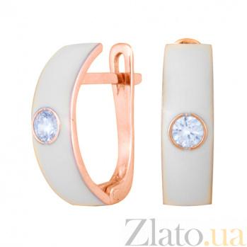 Золотые серьги Пастель с фианитами и эмалью белого цвета С220кр/бел