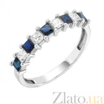 Золотое кольцо Иоланта с сапфирами и бриллиантами 000017651