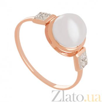 Золотое кольцо с жемчугом и фианитами Бьянка VLN--212-1476