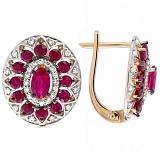 Золотые серьги с рубинами и бриллиантами Анджали