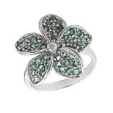 Серебряное кольцо с цирконием и зелёным гранатом Плюмерия