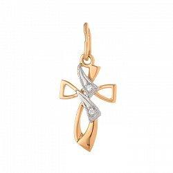 Крестик из комбинированного золота с фианитами 000071595