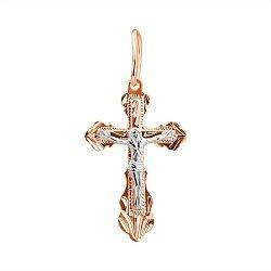 Золотой крестик в комбинированном цвете 000132374