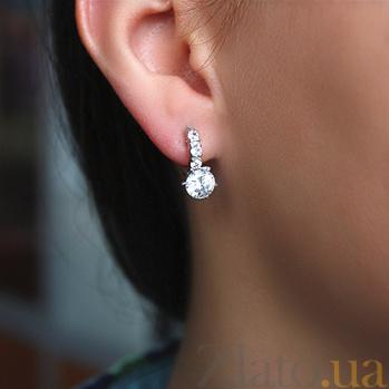 Серебряные серьги с цирконием Велена 000029197