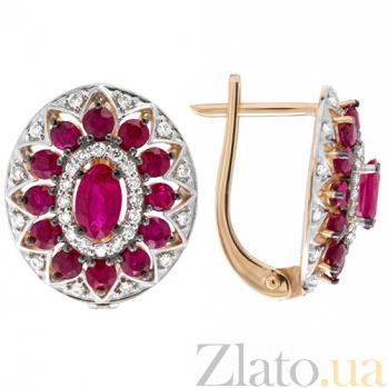 Золотые серьги с рубинами и бриллиантами Анджали KBL--С2455/крас/руб