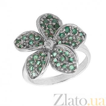 Серебряное кольцо с цирконием и зелёным гранатом Плюмерия ZMX--RCzGngr-6503-Ag_K
