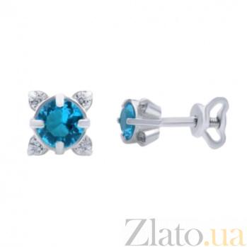 Серебряные серьги с фианитами Gloss AUR--72044с