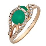 Золотое кольцо Дианис с агатом и фианитами