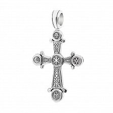 Серебряный крест с чернением Знамение
