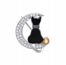 Серебряная брошка Кошка на луне с черной эмалью, золотой накладкой и фианитами