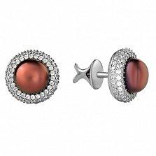 Серебряные серьги-пуссеты Прованс с черным жемчугом и белыми фианитами