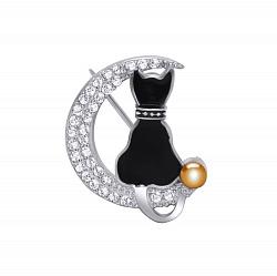 Серебряная брошка Кошка на луне с черной эмалью, золотой накладкой и фианитами 000062621