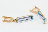 Золотые серьги-подвески с топазом и фианитами Раймонда