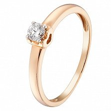 Кольцо в красном золоте Соединение с бриллиантом