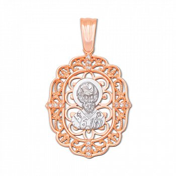 Золотая ладанка Святой Николай с кристаллами циркония 000104015