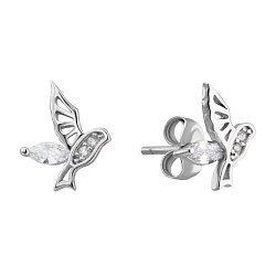 Серебряные серьги-пуссеты с фианитами 000132447