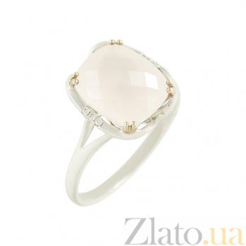 Золотое кольцо с розовым кварцем и бриллиантами Флоретта 1К034-0926