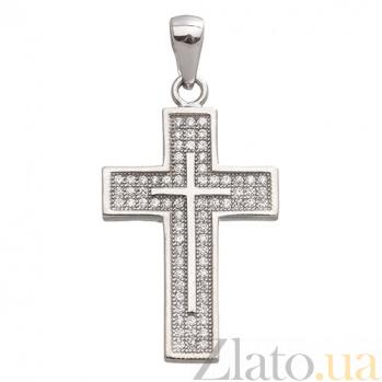 Серебряный крест с фианитами Символ Надежды ONX--131598