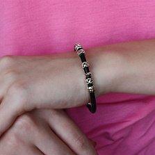 Кожаный браслет Амита с золотой накладкой и серебряными вставками