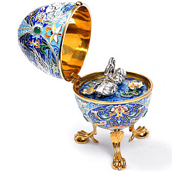 Дизайнерское серебряное яйцо с бриллиантами, позолотой и цветной эмалью 000004308