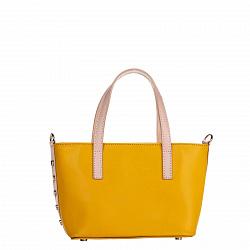 Миниатюрная кожаная сумка Genuine Leather 1690 желтого цвета со съемным ремнем и ножками на дне